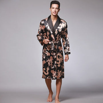Men Silk Summer and Autumn Satin Kimono Bathrobe