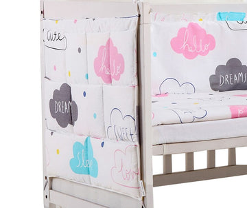 Cotton Baby Bed Hanging Storage Bag Newborn Crib Diaper Organizer Toy Diaper Pocket for Baby Bedding Set Nursery Baby Product