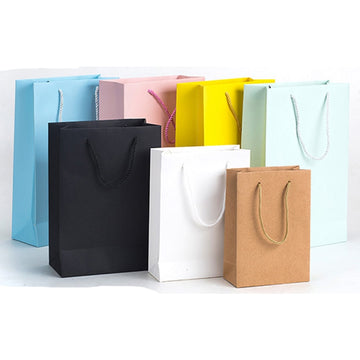 12 Pcs  Custom Logo Printed Thick Grossy White Paper Bag 250grams Cardboard Paper Shopping Bags With String