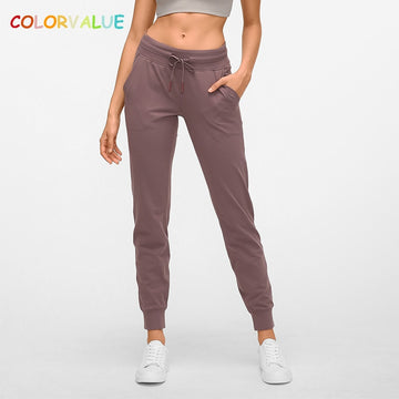 Colorvalue Naked-Feel Fabric Workout Sport Joggers Pants Women Waist Drawstring Fitness Running Sweatpants With Two Side Pocket