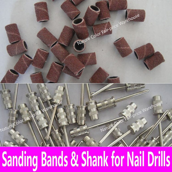 100pcs Sanding Bands Replacement Sleeves Set Nail Electric Drill Bits