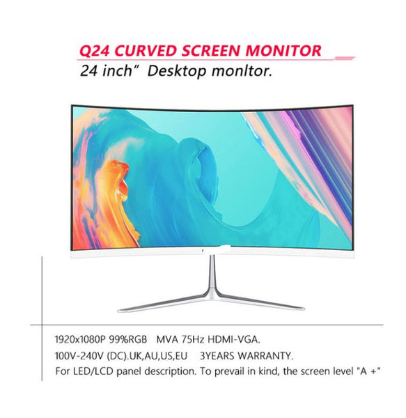 Factory Direct 24 Inch HD Display Computer Best Gaming Screen LED Curved Monitor