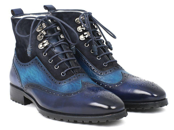 Paul Parkman Wingtip Boots Blue Suede & Leather (ID#971-BLU)