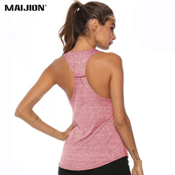 MAIJION Women Racerback Yoga Tank Tops Sleeveless Fitness Yoga Shirts Quick Dry Athletic Running Sports Vest Workout T Shirt
