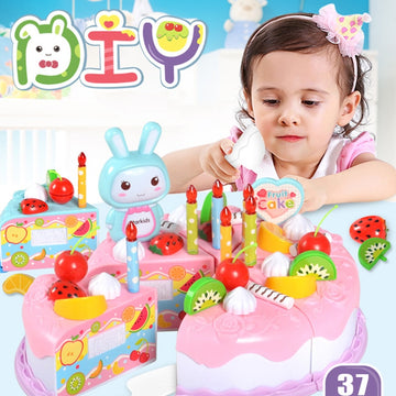 37Pcs DIY Pretend Play Kitchen Toys Fruit Birthday Cake