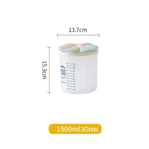 Kitchen Grain Storage Box Transparent Plastic Compartment Barrel Sealed Cereal Food Storage Containers Jar Household Accessories