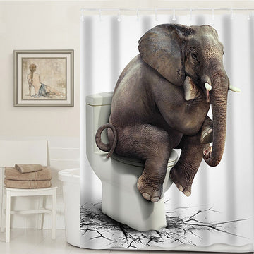 3D Elephant Waterproof Bathroom Shower Curtain Set