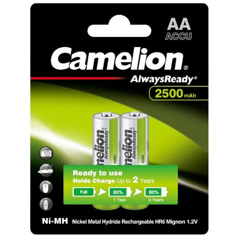Camelion AlwaysReady Rechargeable AA Batteries 2500mAh