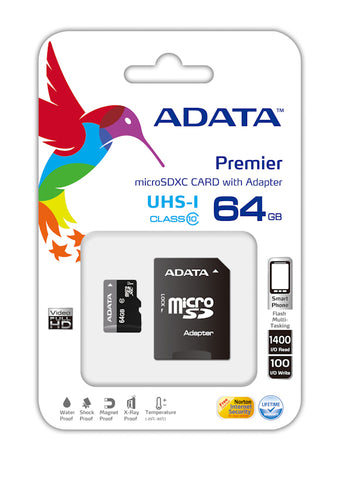 Adata Micro SDXC 64GB CL10 UHS-1 with Adapter