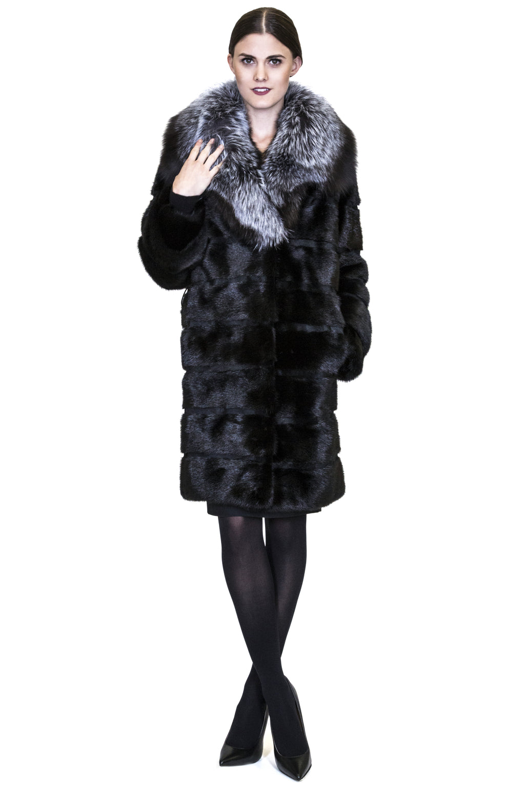 Full Skin Mink Coat with Plush Silver Fox Collar