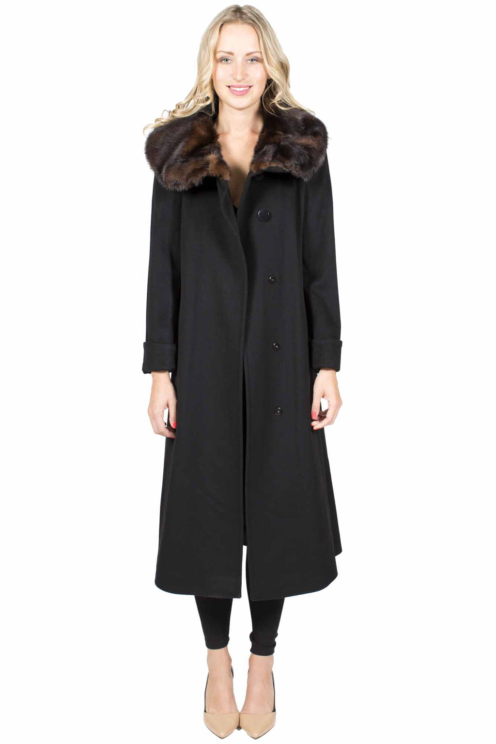 Long Wool Coat with Mink Collar