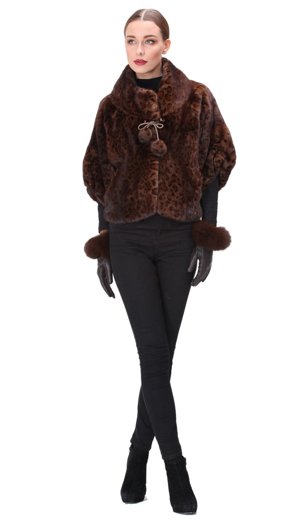 Full Skin Mink Animal Print Bolero with Pom Pom Ties