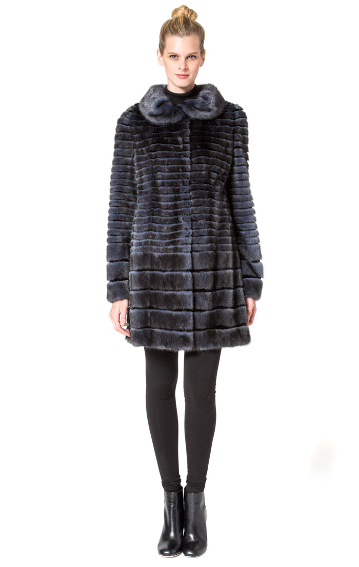 Full Skin Mink Horizontal Pattern Coat