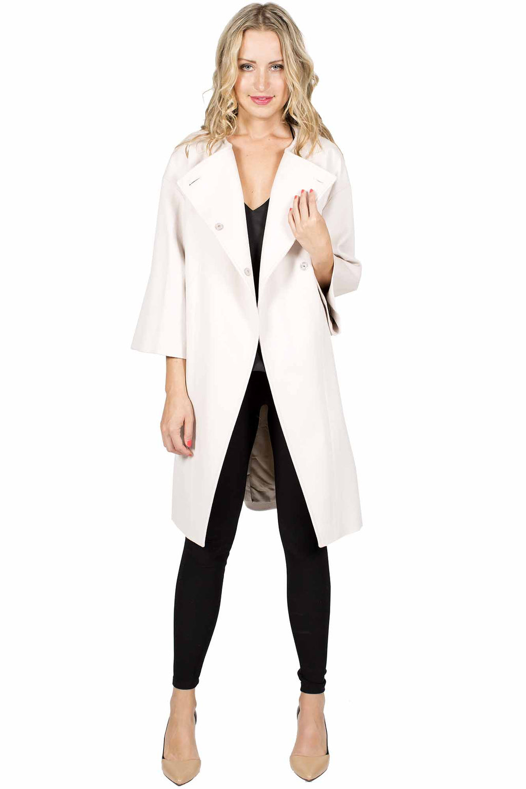 Wool Coat with Asymmetrical Closure