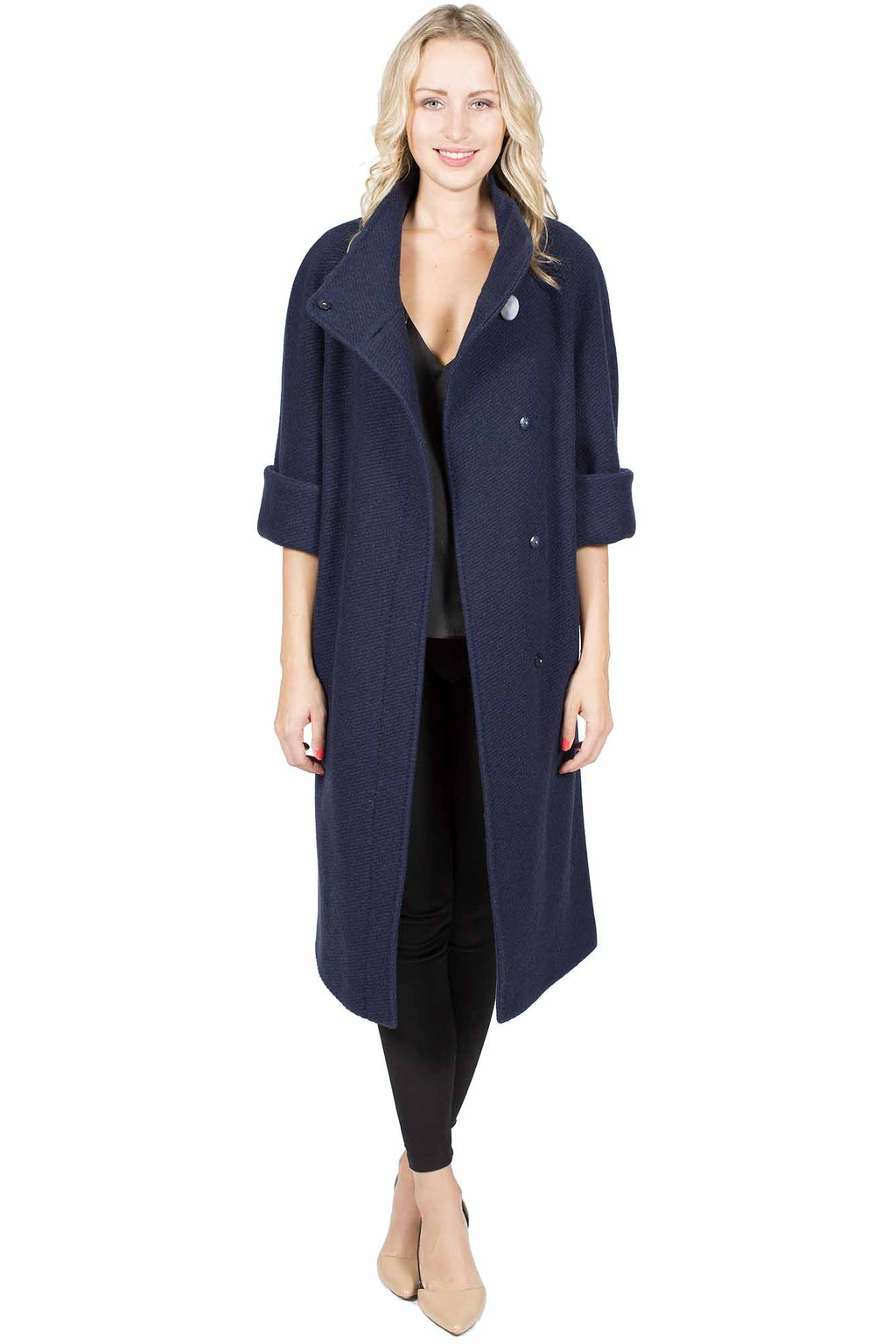 Wool Blend Coat with 3/4 Sleeve