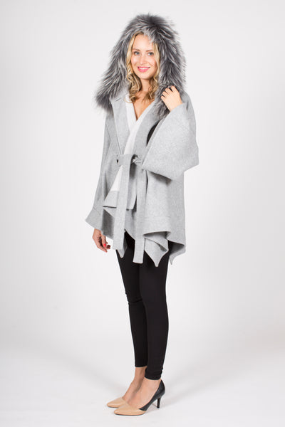 Wool Blend Short Hooded Jacket