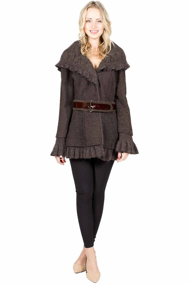 Reversible Shearling and Wool Coat with Belt