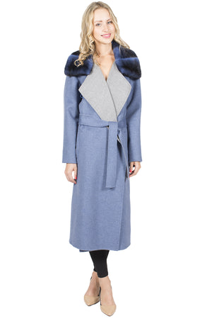 Long 100% Cashmere Wrap Coat with Rex Rabbit Collar