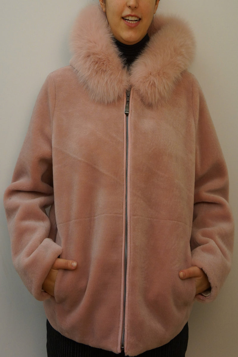 Merino Jacket with Fox Trim Hood