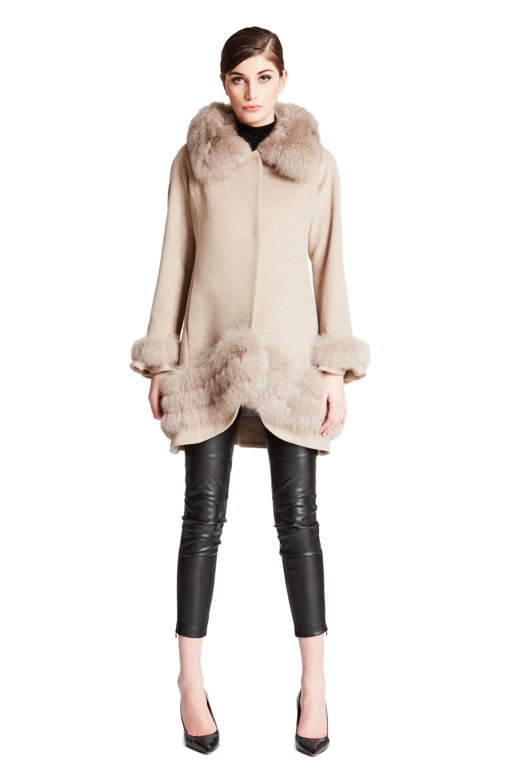 Cashmere Swing Coat with Wide Fox Collar and Trim
