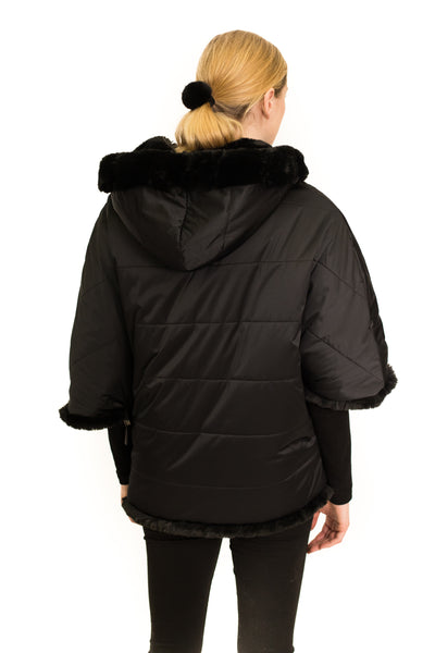 Reversible Faux Fur Poncho with Hood and Side Zipper Detail