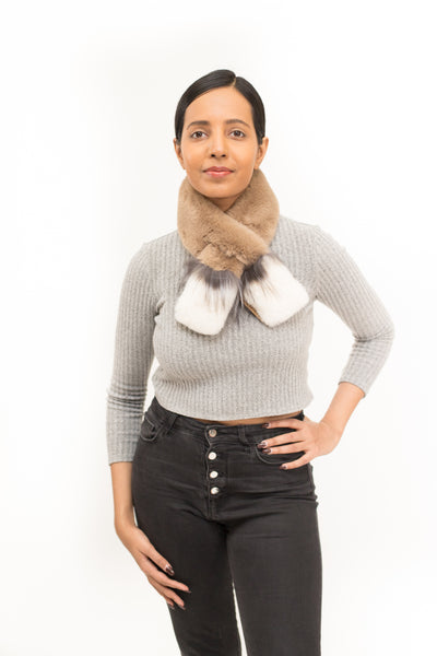 Faux Fur Pull Through Scarf with Silver Fox Detail