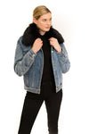 Denim Jacket with Detachable Faux Fur Collar