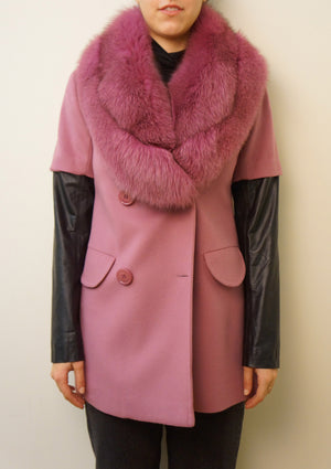 100% Cashmere Coat with Plush Fox Collar