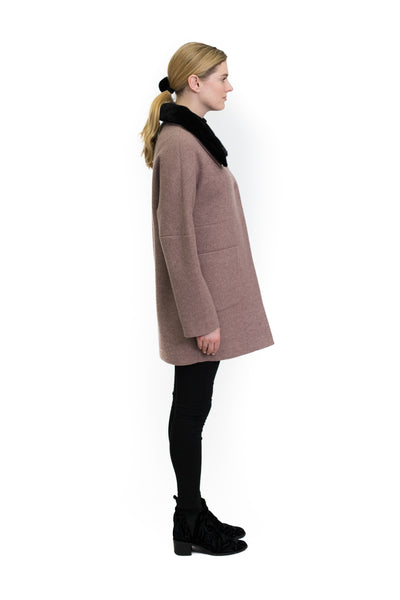 Coat with Detachable Mink Collar