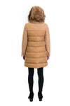 Wool/Microfabric Coat with Rex Hood and Raccoon Trim