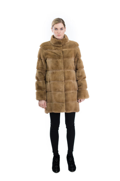 Mink Coat with Stand Up Collar