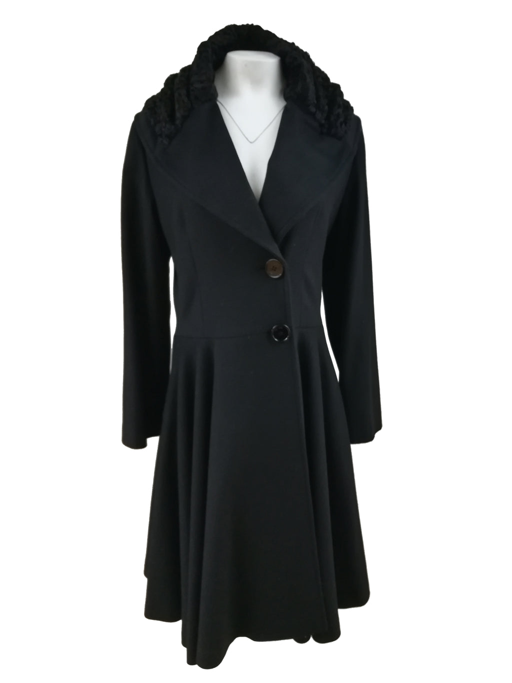 "42"" 100% Cashmere Coat with Swakara Collar - Size Medium"