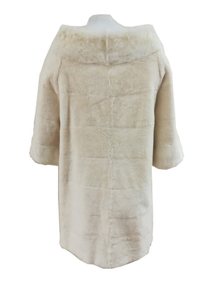 "30"" Wide Shoulder Full Skin Rex Rabbit Coat with Mink Collar and Cuffs- Size Small"