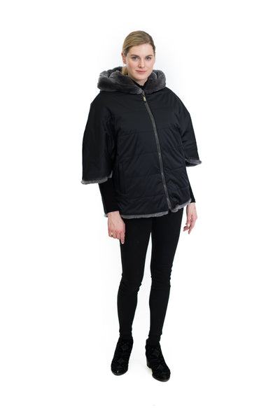 Rex Rabbit Cape Coat with Hood and Side Zipper Detail