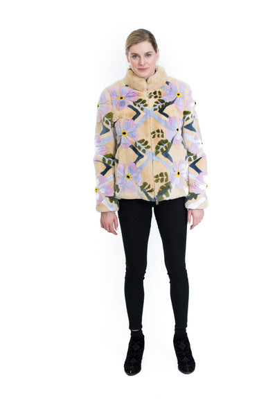 Reversible Floral Print Rex Rabbit Jacket