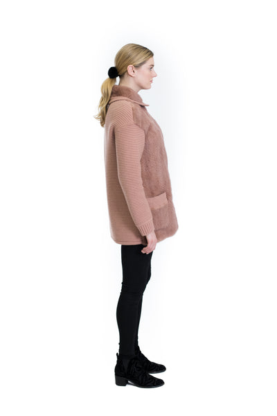 Knitted Coat with Mink