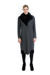 Cashmere Coat with Detachable Mink Collar
