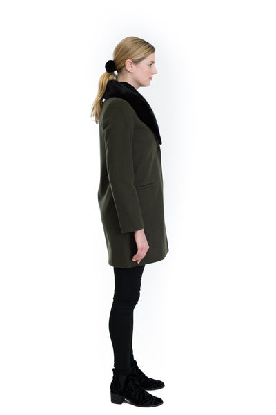 Cashmere Coat with Mink Collar