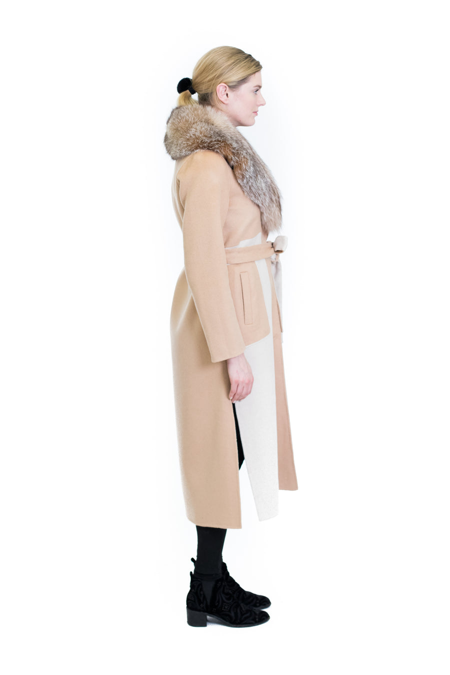 Cashmere Coat with Indigo Fox Collar