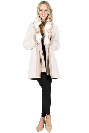 Wool Blend Coat with Fox Trim and Detachable Lining
