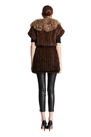 Long Knitted Mink Vest with Oversized Raccoon Collar