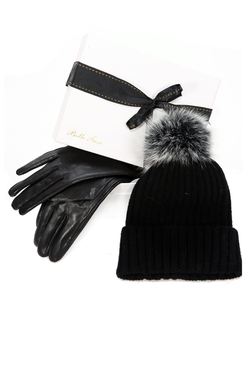[Special] Leather Gloves with Stitch and Cashmere Beanie Hat