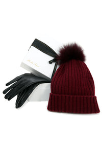 [Special] Leather Gloves and 100% Cashmere Beanie Hat