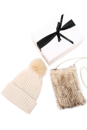 [Special] Knitted Mink Cross Body Pouch and Wool Blend Beanie