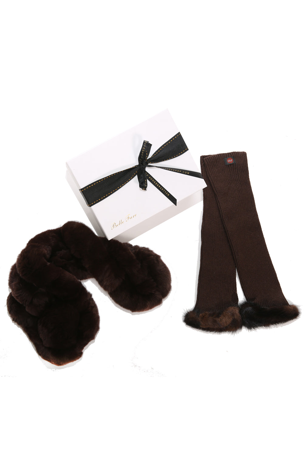 [Special] Rex Neck Warmer and Cashmere Gloves (Brown)