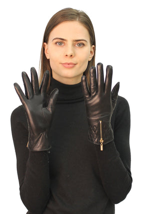 Short Leather Gloves with Zipper Detailing