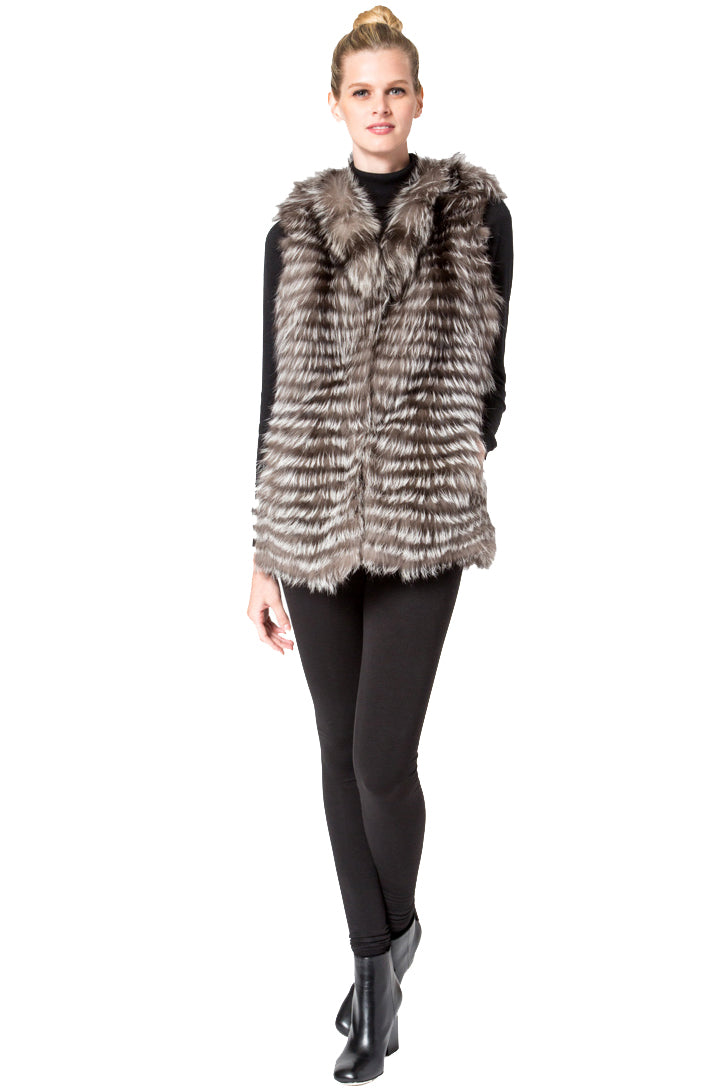 Layered Silver Fox Vest
