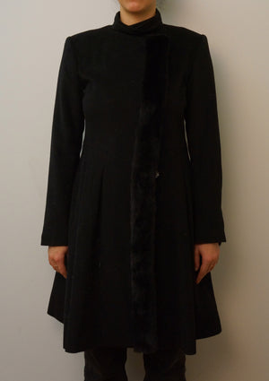 Cashmere Coat with Mink Front Trim