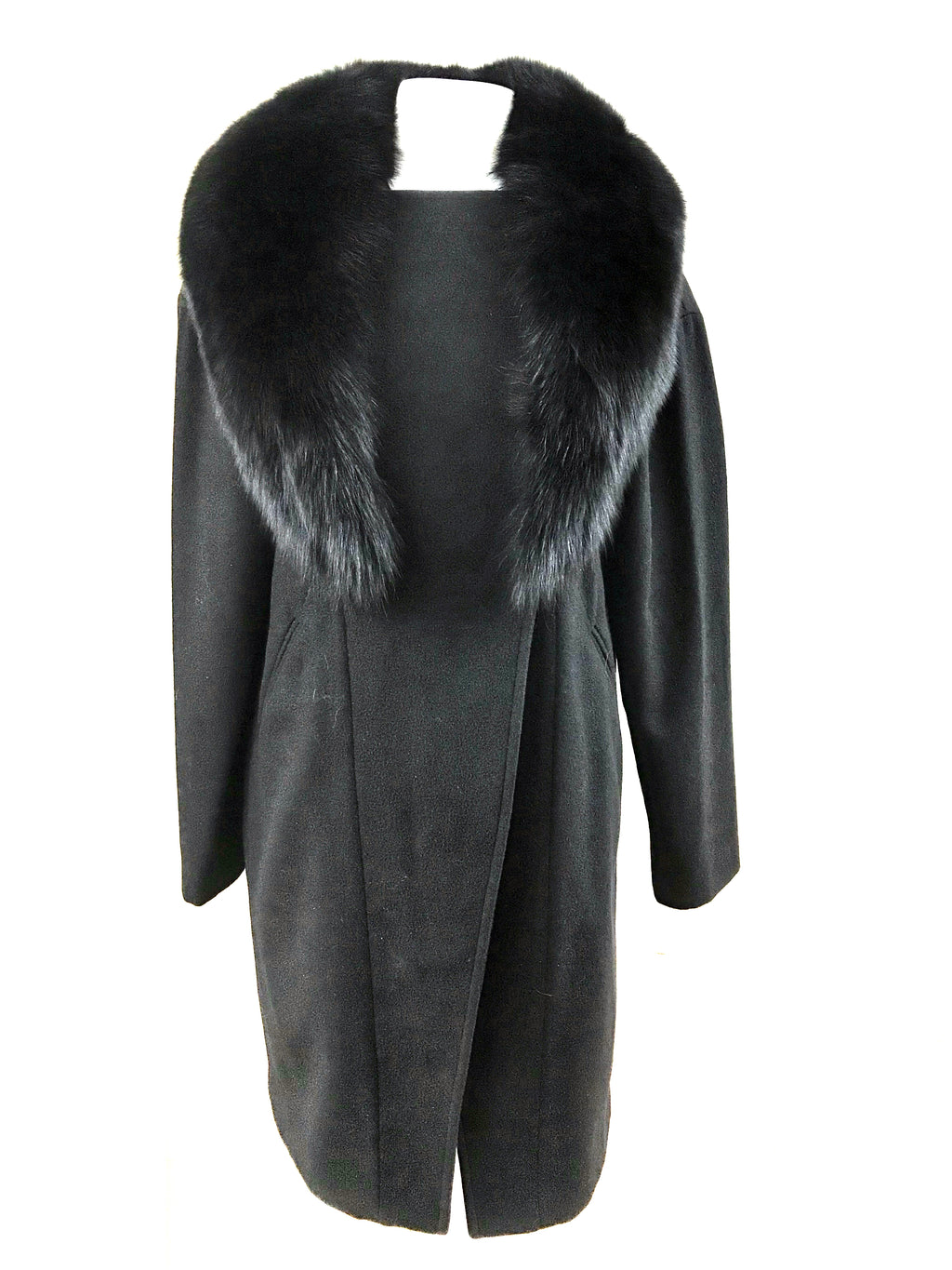"36"" 100% Cashmere Asymmetrical Coat with Detachable Fox Collar - Size Small"