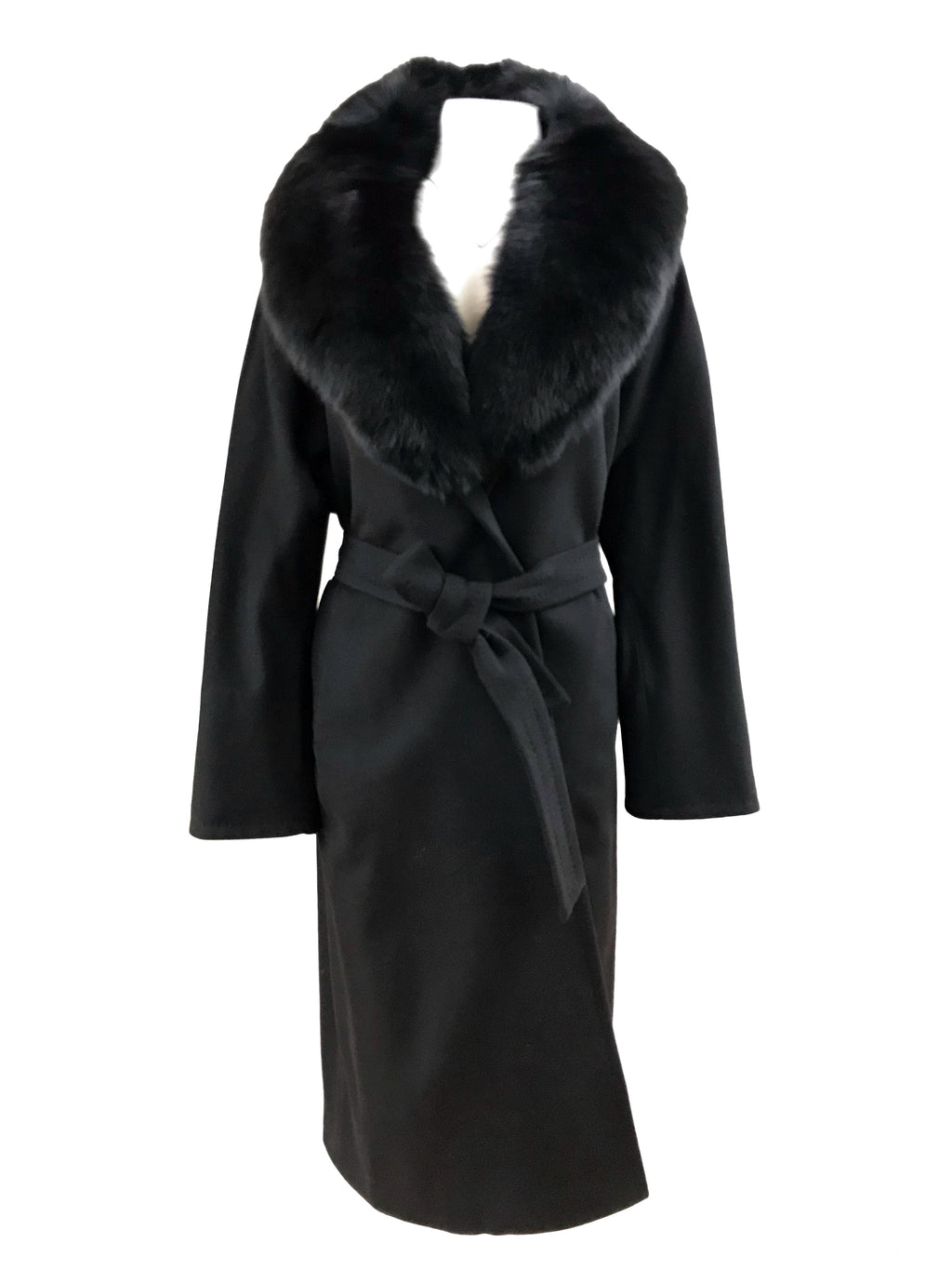"46"" 100% Cashmere Coat with Detachable Fox Collar - Size Small"